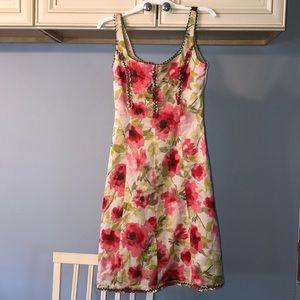 Elizabeth Wayman floral scoop neck a line dress